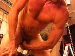 Electro butt plug in bodybuilder hole.