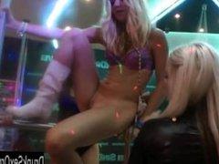 Lesbian club bitches lick pussies in public