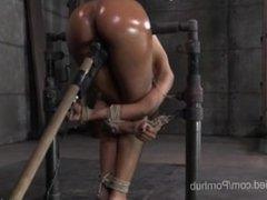 Ebony Cutie In Strict Rope Bondage
