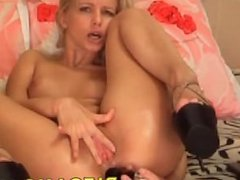 Hot blonde playing with a dildo on cam - pifcams.com