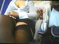 Down blouse secretary in train