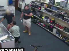 Amateur hunk sucking on a cock at the pawn shop