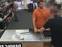 Amateur hunk tugging his cock at the pawn shop