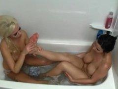 Lesbian masturbate each other and worship feet