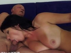 Chubby big tit girl for old man