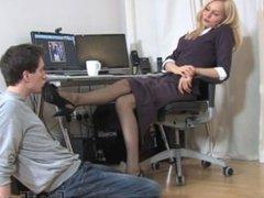 office nylon feet worship