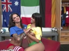 Rose Monroes webcam show with friend and two referee hardcore play