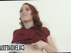 Small tit amateur redhead does a striptease