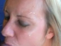 Pierced pussy girl gets cum on her face!