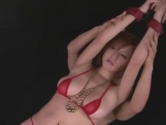 Busty girl in tight red bikini toyed japan-adult.com/pornh