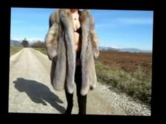 Fatty Italian mother in a luxurious fur coat and high boots masturbates.