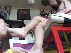 Asia foot worship / foot slave / foot fetish