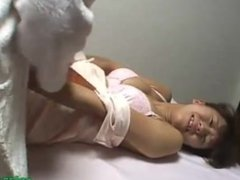 Asian Masseuse Getting Her Arms Tied Guy Sitting To Her Jerking Off His Coc