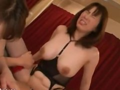 2 Asian Milfs Licking Pussies Riding On Young Guy Cock On The Bed In The Be