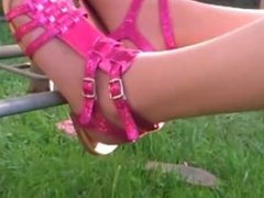 pink shoes Tanned tights