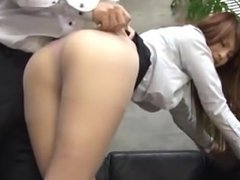 Office Lady In Pantyhose Getting Her Hairy Pussy Licked Fingered On The Cou