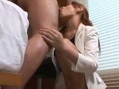 Hot Office Lady Giving Blowjob On Her Knees Cum To Mouth On The Floor In Th