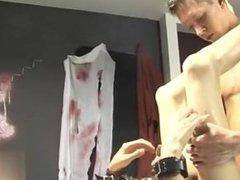 Hardcore gay Roxy likes every minute of this fantastic restrain bondage