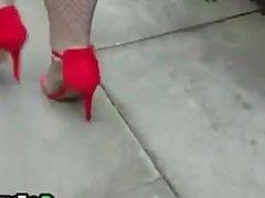 Walking In Red High Heels