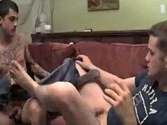 Guy Gets Footjob then Blows His Partner