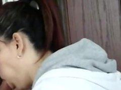 brunette swallows on hidden camera