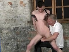 Gay video With his sensitive nutsack tugged and his sausage jerked and