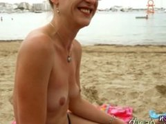 Topless Interview with Megan from Germany – Lesbian Candid Bikini