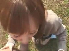 Schoolgirl Getting Her Tits Rubbed While Riding The Bicycle And Giving Blow