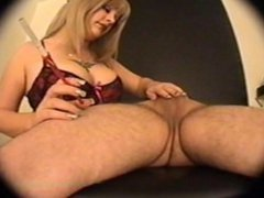 blonde smoking handjob