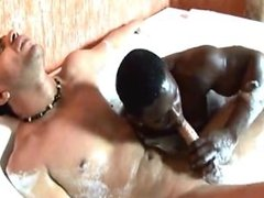 White man and black man in the bath