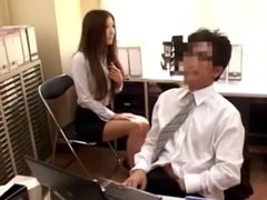 Office Lady Watching Jerking Guy Sucking His Cock In The Office