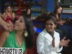 Big tit brunette MILF sucks cock at CFNM party