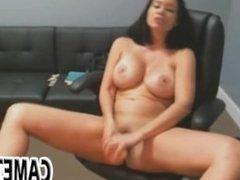 Brunette amateur finger pussy and fucks a dildo