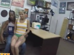 Black cuckold pawns his latina girlfriend to the owner of a pawn shop