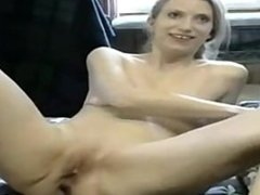 Sexy blonde milf uses hitachi on her tight pussy