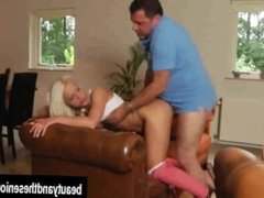 Salacious blonde teen gets fucked by an old dude