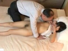 Asian Girl Stimulated With Vibrator Fingered Sucking Old Guy Cock Fucked On