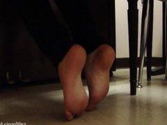 Piano practice in black socks