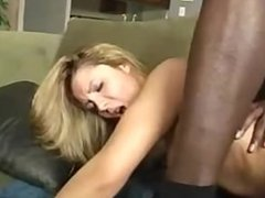 Cute Young Blonde in Stockings takes a Big Black Cock!