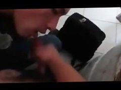 3-Way Blow Job in Public Restroom (Twink)