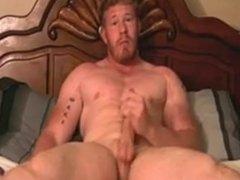 Muscle Dane Jerks Off in Bed