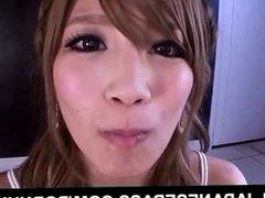 Erika Shibasaki eats cum from shlongs