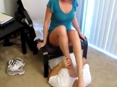 redhead enjoying her slave smelling her stinky socks and feet