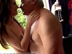 Horny senior Bruce catches sight of a uber-cute dame sitting behind a
