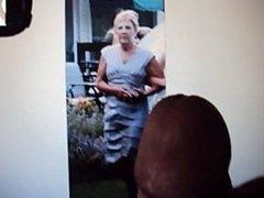 Kathy ( me ) gets cum tribute on my grey dress ( part 2 )