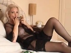Smoking amazing blonde