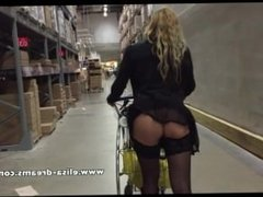 No panties and upskirt in Ikea