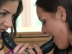 StrapOn Beautiful Czech lesbians double dildo fun time