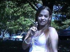 Lynn outdoor smoking Virginia Slim 120's