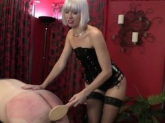 Blonde femdom spanking and humiliation of male slave